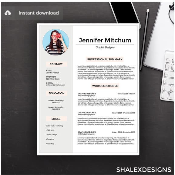customizable resume via shalexdesigns on etsy screenshot