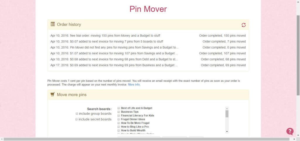 pin moving feature in boardbooster