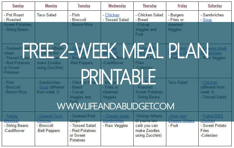 Need help cutting down on the cost of eating out? Here is a free 2 week meal plan printable that will help you break your dining out habit.