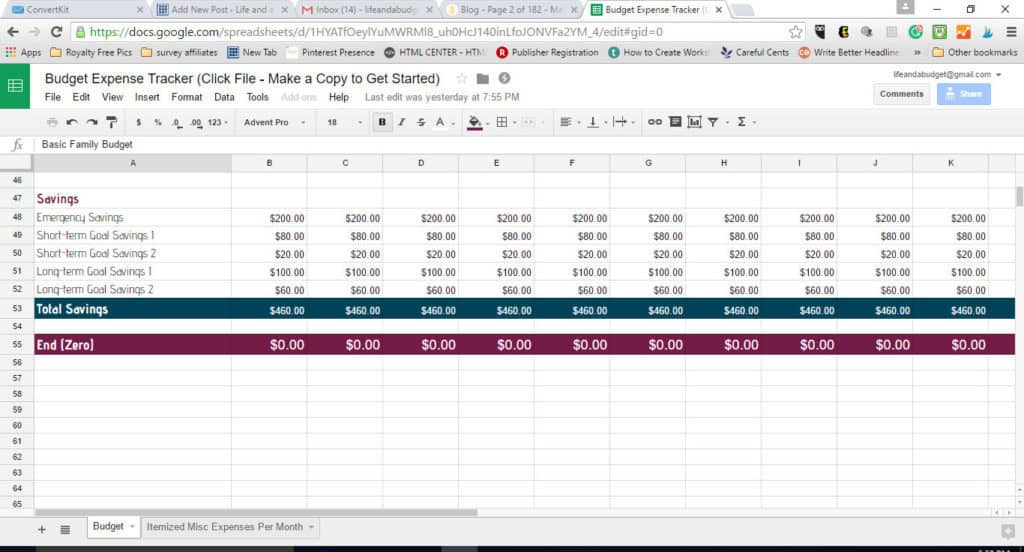 free budget spreadsheet template -end-zero-line