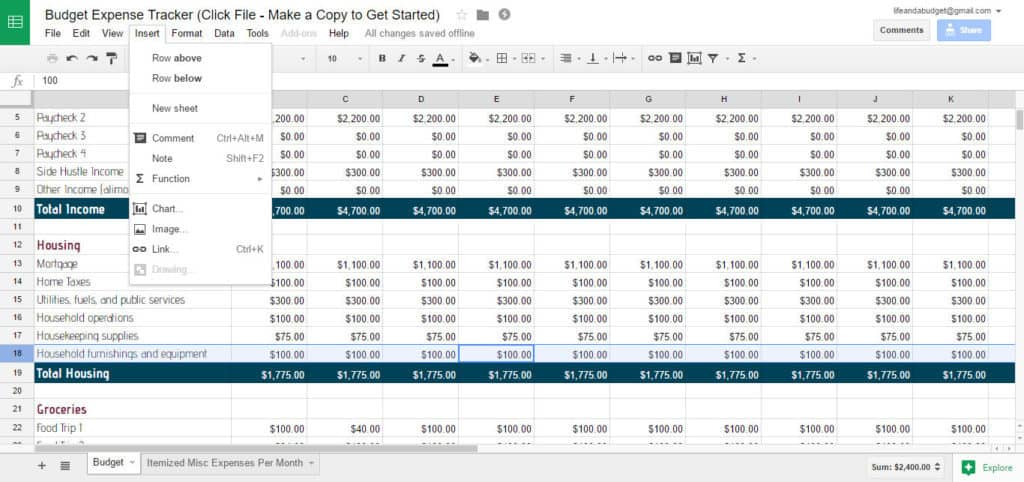free budget spreadsheet template - add row to spreadsheet screenshot