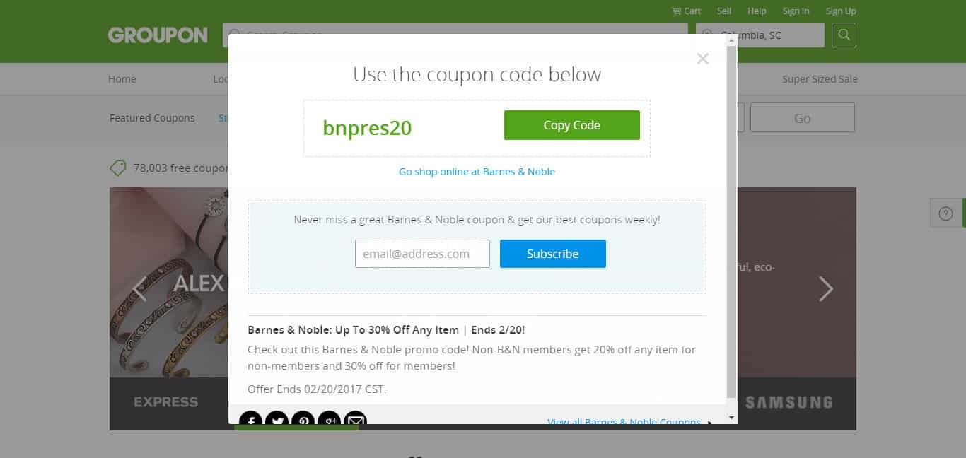 GROUPON COUPON SUBSCRIBE TO WEEKLY COUPONS