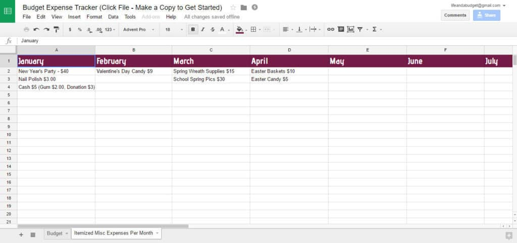 free budget spreadsheet template -itemized-misc-expenses-per-month