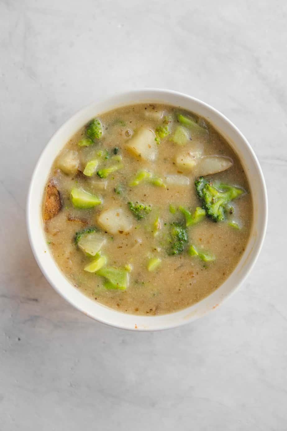 potato brocolli soup meatless meals on a budget