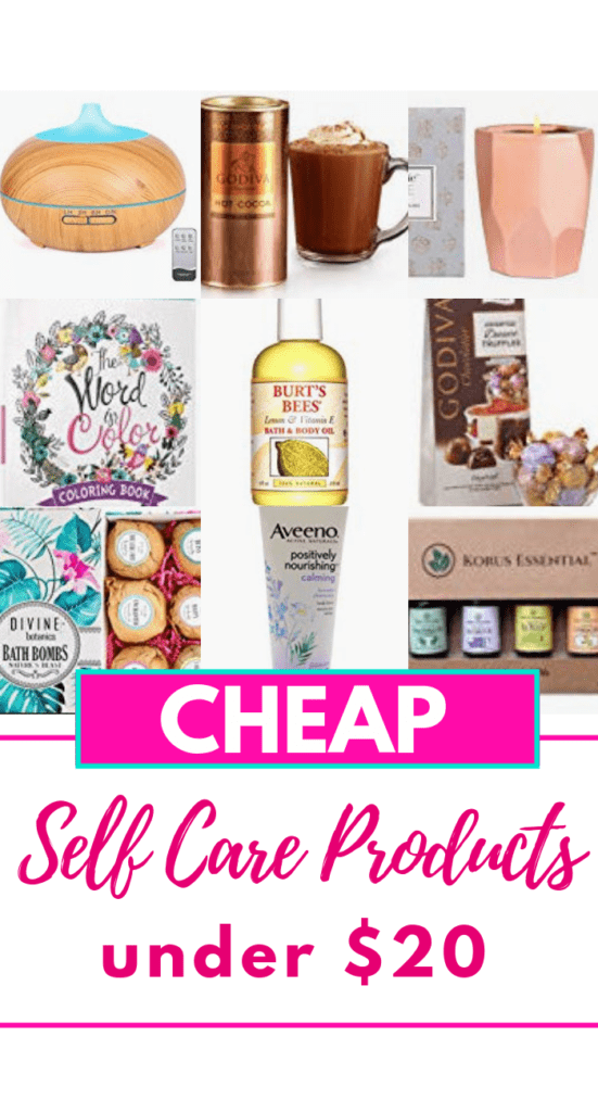 This is an awesome list of cheap self-care products to keep for yourself or to gift your girlfriends, mom, or sisters! Check out the affordable products you can get on this list for under $20. They are super cute! #selfcare #cheapgifts #formoms #cheapselfcare #selfcareonabudget #affiliate