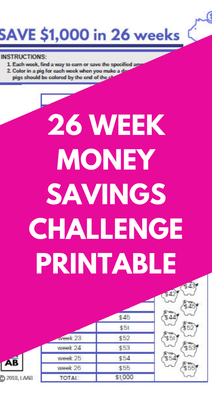 picture about 26 Week Money Challenge Printable referred to as 26 7 days Price savings Program Monetary Difficulty Cost-free PRINTABLES - Everyday living