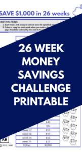 image relating to 26 Week Money Challenge Printable named 26 7 days Fiscal Trouble Printable - Conserve $5000 or $1000!