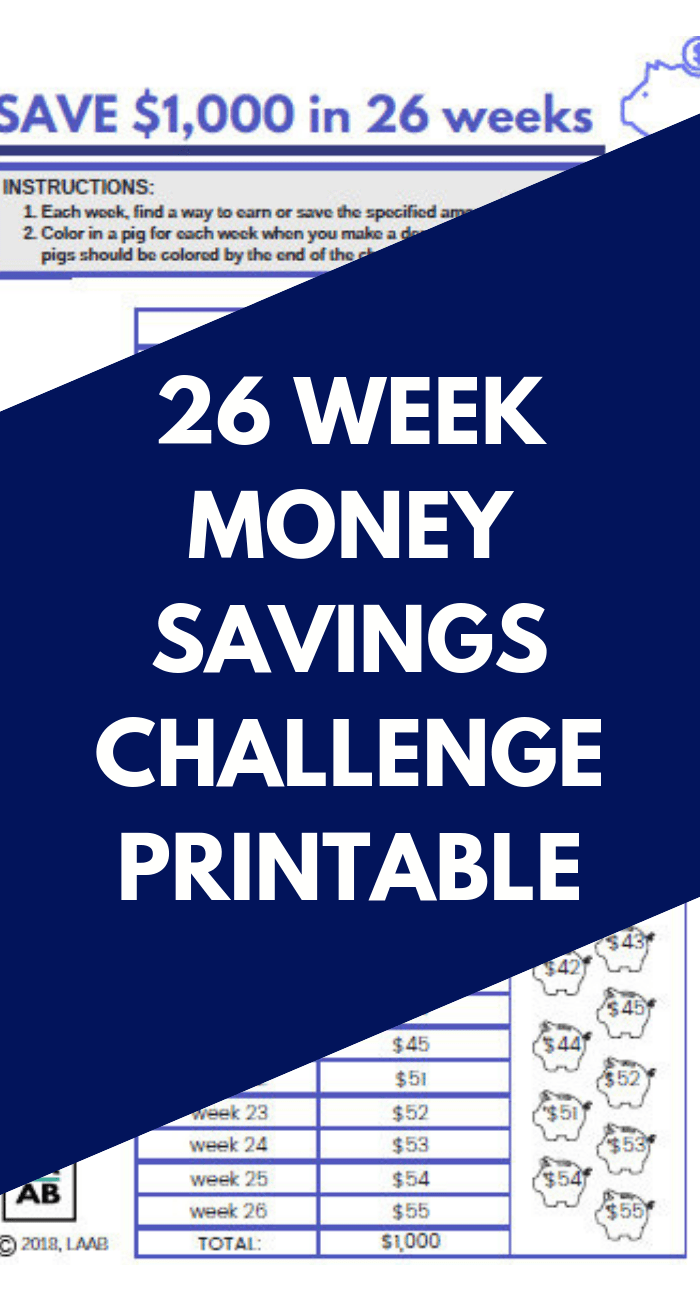 picture about 26 Week Savings Plan Printable called 26 7 days cost savings method absolutely free printable pin b - Lifestyle and a Spending budget