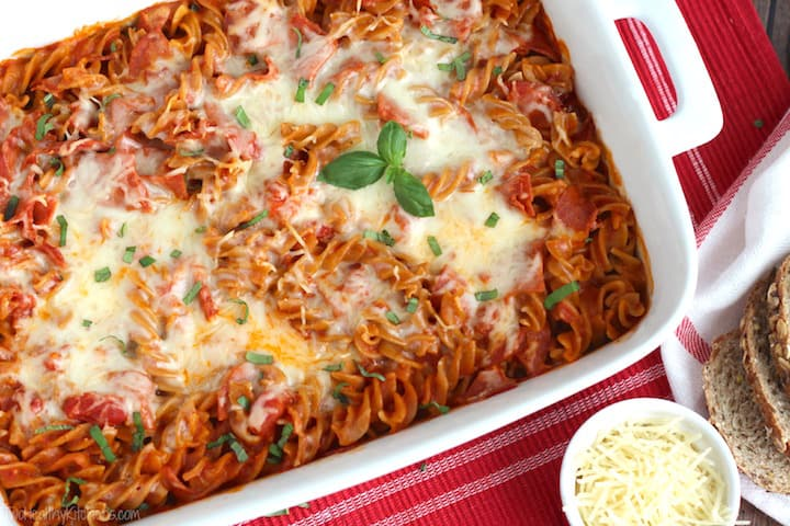 Easy 5 Ingredient Pizza Bake- Two Healthy Kitchens
